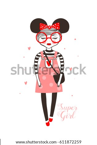 Super girl, doodle vector illustration