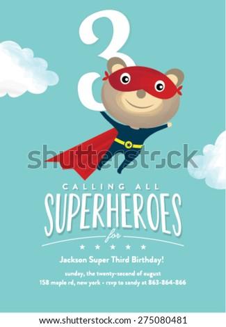 Super Hero Birthday Card Invitation Illustration - stock vector