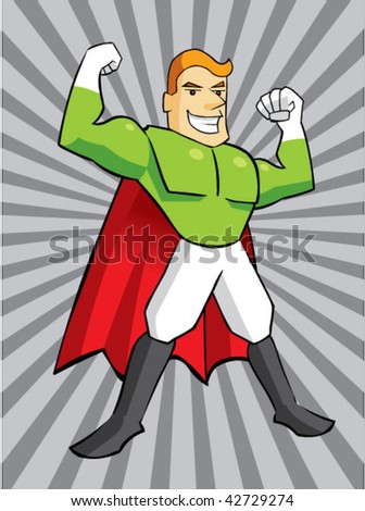 super hero cartoon - stock vector