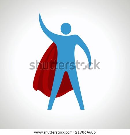 super hero cartoon silhouette icon. abstract - stock vector