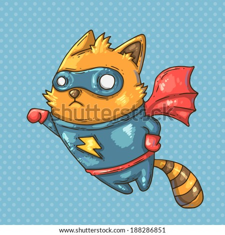 super hero cat - stock vector