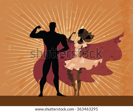 Super hero couple - man and woman black silhouettes posing on grunge sunburn background. Heroes couple on vintage background. Man wear red cloak, woman in white dress. Retro american poster style. - stock vector