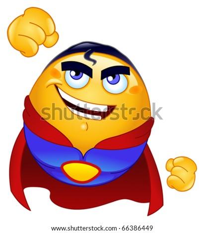Super hero emoticon - stock vector