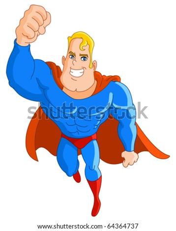 Super hero flying - stock vector