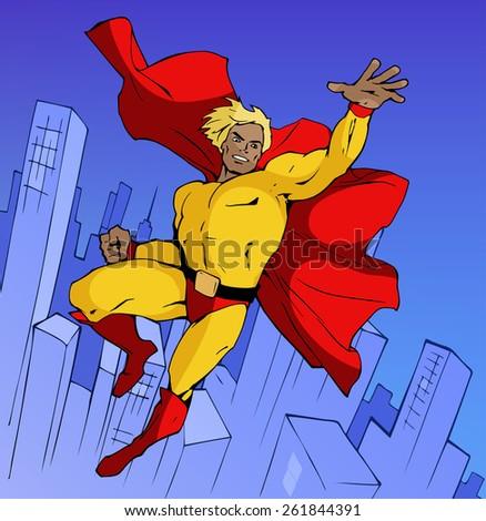 Super hero in cool costume flying forward above modern city - stock vector