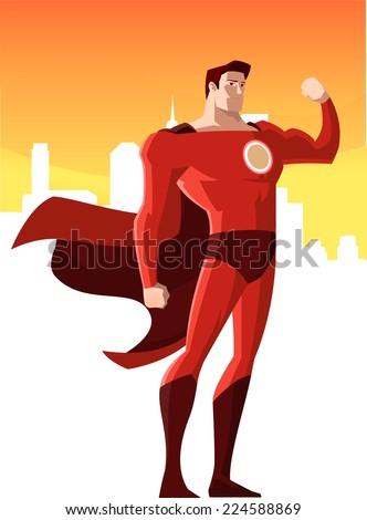 super hero showing his strength, vector illustration.  - stock vector