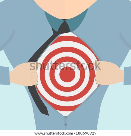 Super hero tearing open his shirt to reveal an business target  - stock vector