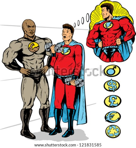 Super hero training to be the hero he wants to be by a super trainer. With vector, all heroes are on separate layers. - stock vector