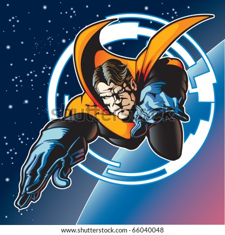 Super hero with cape flying above a planet. - stock vector