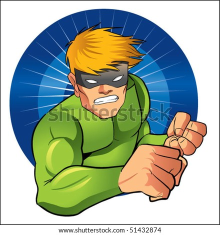 super hero with mask - stock vector