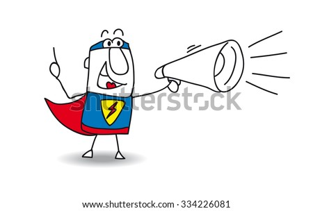 Super Hero with megaphone. A super hero is speaking  in a megaphone - stock vector