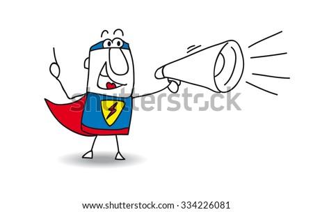 Super Hero with megaphone. A super hero is speaking  in a megaphone - stock vector