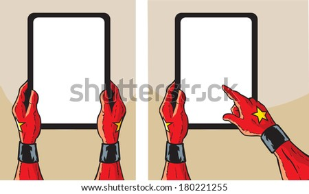 Super Hero with tablet - stock vector