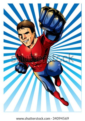 super hero zoom out - stock vector