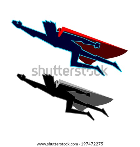 Super Heroes Fly - stock vector