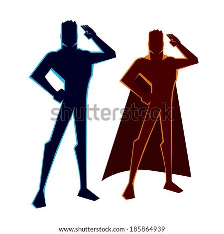 Super Heroes Salutes - stock vector