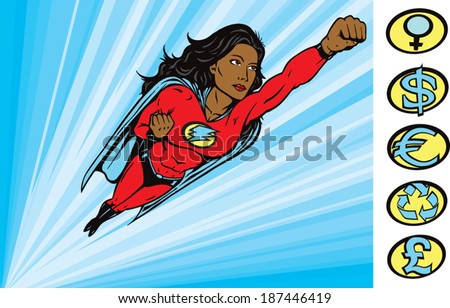Super Heroine to the rescue - stock vector