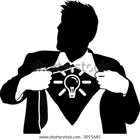 Super ideas man. A business man tearing open his shirt to reveal a light bulb/ idea icon - stock vector