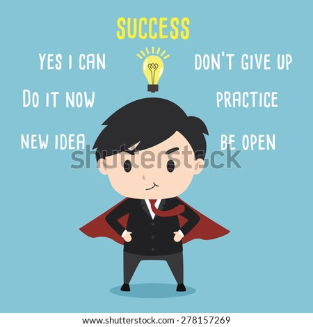 Super leader wear a red cape with success and vision concept - stock vector