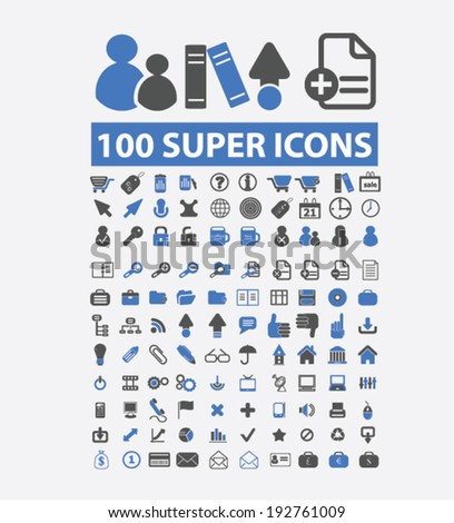super office icons set, vector - stock vector