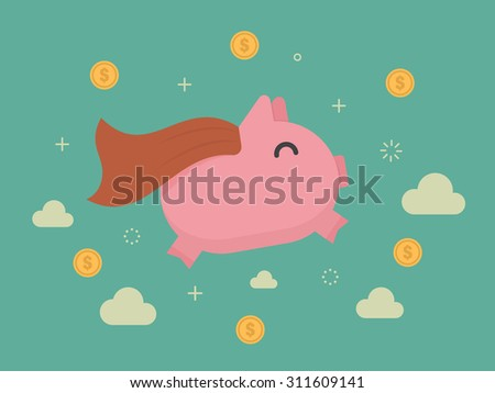 Super piggy bank. Business concept cartoon illustration - stock vector