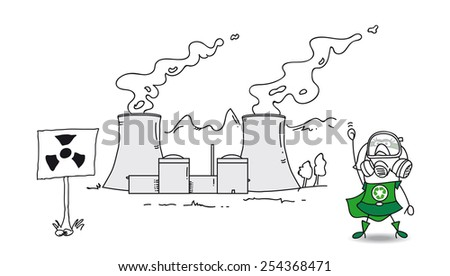 Super recycling hero and the nuclear plant. Be careful! This area is radioactive and prohibited. The nuclear plant has a big problem. - stock vector