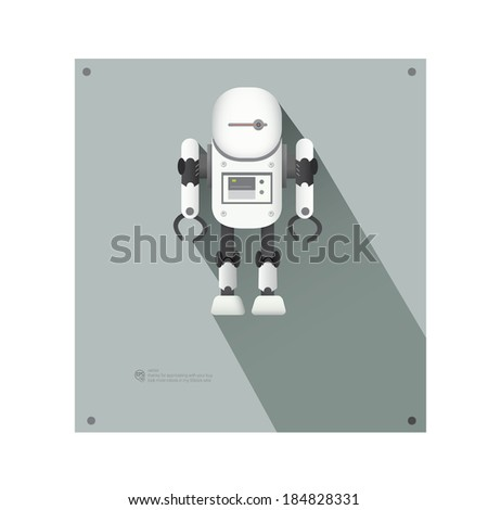 Super robot with super long shadow - stock vector