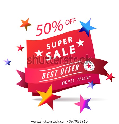 super sale banner, best offer, red ribbon with stamp label and colorful stars - stock vector