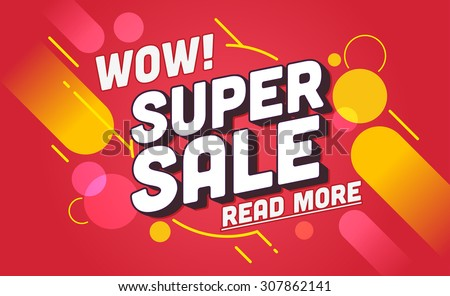 Super sale banner design.Vector illustration - stock vector