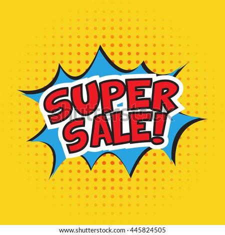 Super sale banner design. Vector illustration. Cartoon. Dotted background - stock vector
