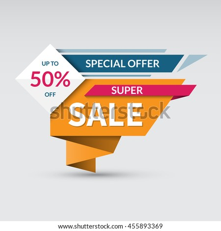 Super sale banner. Special offer label. Up to 50 percent off concept. Half price colorful sticker. Shopping badge. Origami style. Vector background - stock vector