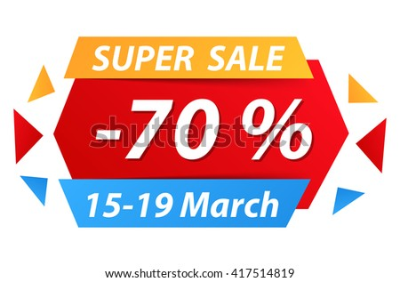 Super sale banner with 70% discount, vector eps10 illustration - stock vector