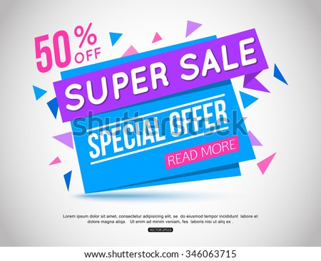 Super Sale paper banner. Sale background.  Big sale.  Sale tag.  Sale poster. Sale vector.  Super Sale and special offer. 50% off. Vector illustration. - stock vector