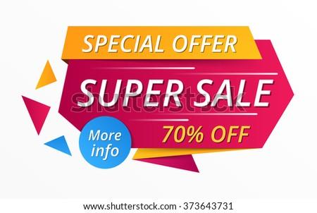 Super sale red banner, special offer, 70% off, vector eps10 illustration - stock vector