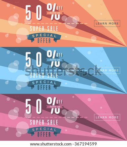 Super Sale. Special Offer. Flat Horizontal Vector Web Banners. Three colors. - stock vector