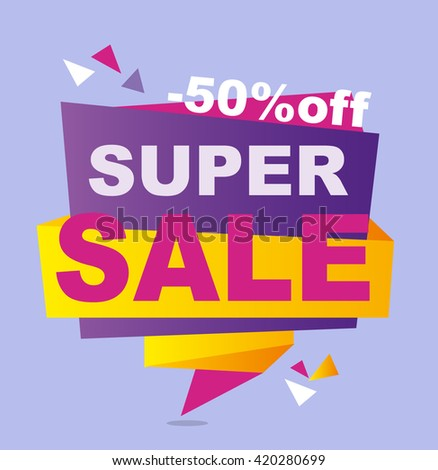 Super Sale vector banner.  50%off . Vector illustration.