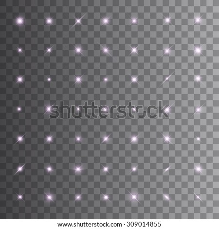Super set of glowing lights and stars. Isolated on transparent background. Vector illustration, eps 10. - stock vector