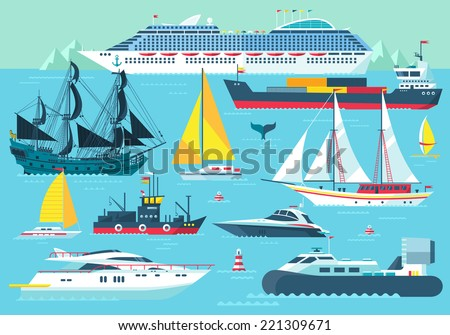 Super set of water carriage and maritime transport in modern flat design style. Ship, boat, vessel, warship, cargo ship, cruise ship, yacht, wherry, hovercraft. Isolated on blue background - stock vector