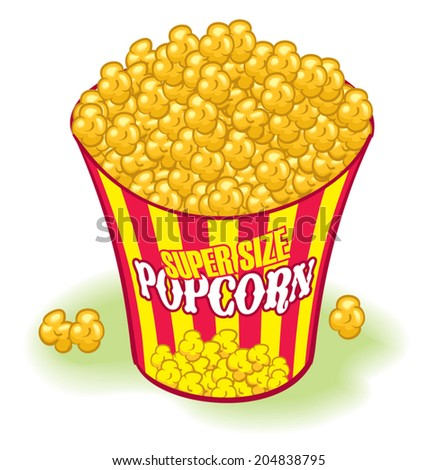Super sized Movie Theater Popcorn. Yellow and red, - stock vector