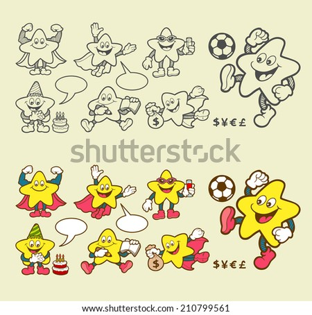 Super star cartoon character icons. Star smiley face expression with blank speech bubbles. sketch and color style version. Easy to use, edit, or change color. - stock vector