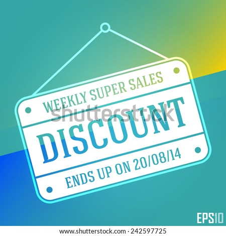 Superb Discount Sales Banner. Isolated Hanging Cheap Vector Sign. EPS10 Illustration Design - stock vector