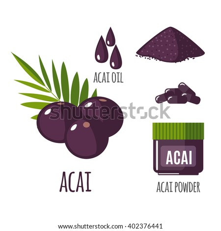 Superfood acai berry set in flat style: acai berries, powder, pills, oil. Organic healthy food. Isolated objects on white background. Vector illustration - stock vector