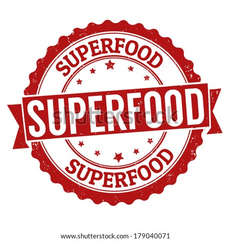 Superfood grunge rubber stamp on white, vector illustration - stock vector