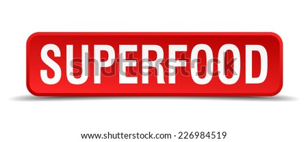 Superfood red 3d square button isolated on white - stock vector