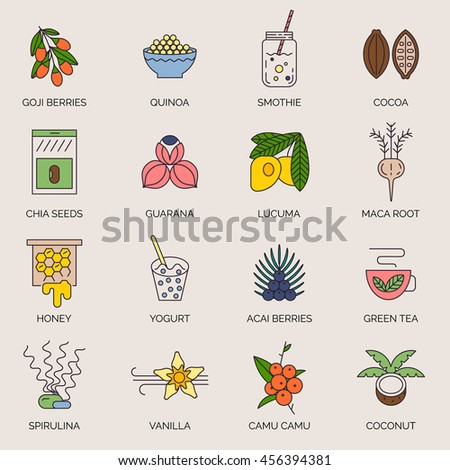 Superfoods line vector icons. Acai, cocoa, goji, guarana, spirulina, coconut, quinoa, camu camu, maca, honey, vanilla, kelp. Organic superfoods for health and diet. Detox and weightloss supplements. - stock vector