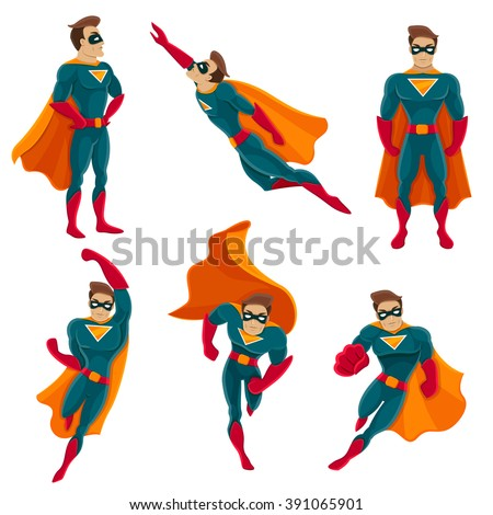 Superhero actions icon set in cartoon colored style different poses vector illustration - stock vector