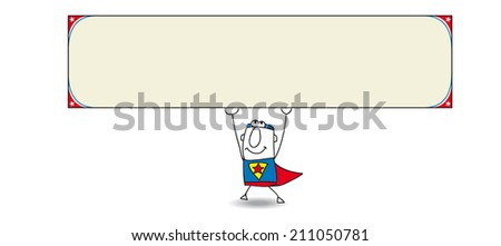Superhero and horizontal banner. Joe, the superhero is carrying a sign. This artwork is ideal for your advertising. - stock vector