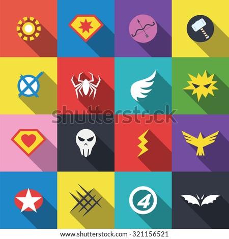 superhero badge logo, vector flat design - stock vector