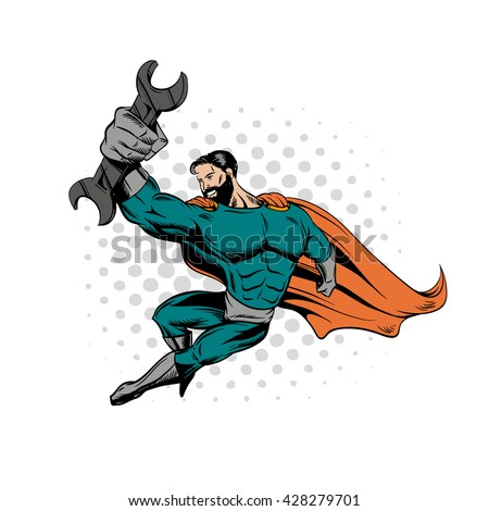 Superhero bearded hipster holding wrench. Hand drawn vector illustration - stock vector