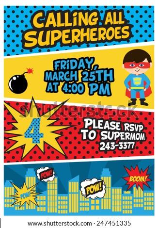 Superhero Birthday - stock vector